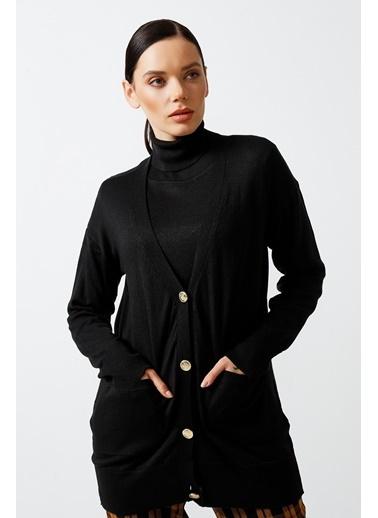 Gusto Kadın Siyah Triko Hırka 21KGST009 Siyah